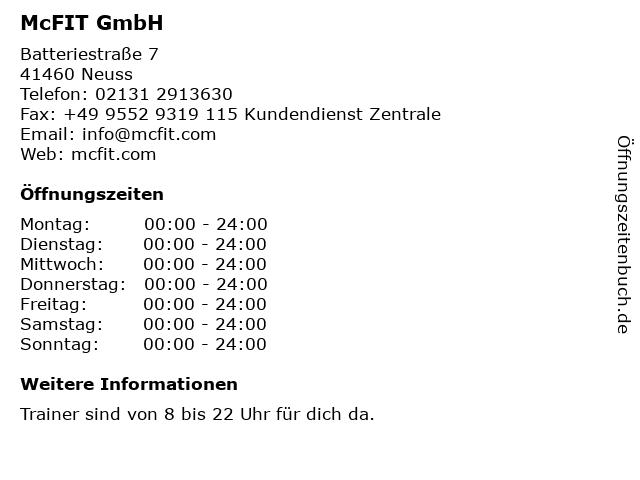 McFIT GmbH in Neuss: Adresse und Öffnungszeiten