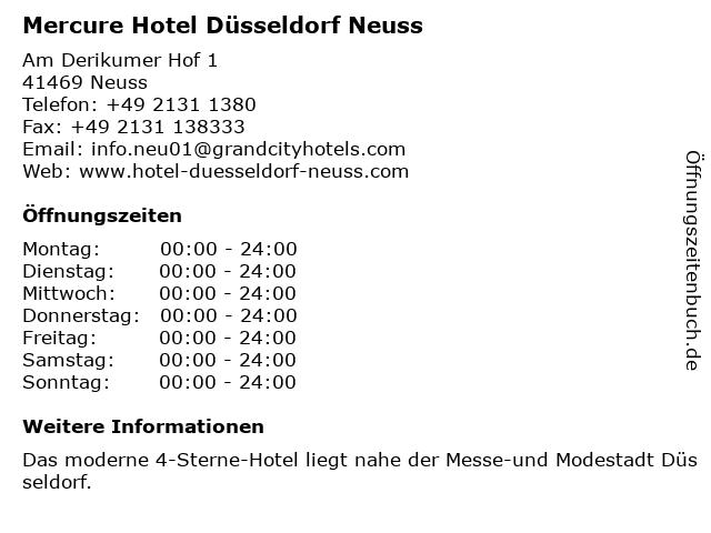 Mercure Hotel Düsseldorf Neuss in Neuss: Adresse und Öffnungszeiten