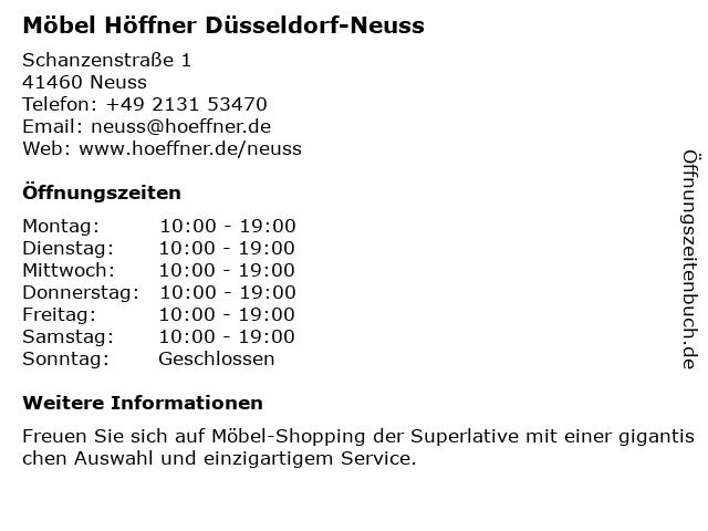 ᐅ öffnungszeiten Möbel Höffner Schanzenstraße 1 In Neuss