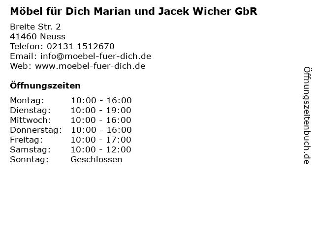 ᐅ Offnungszeiten Mobel Fur Dich Marian Und Jacek Wicher