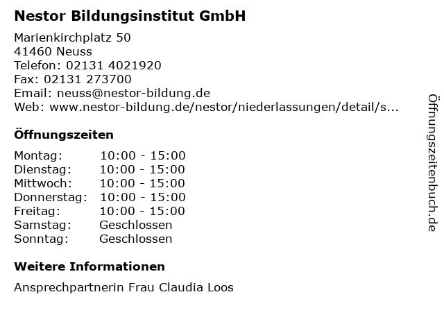 Nestor Bildungsinstitut GmbH in Neuss: Adresse und Öffnungszeiten