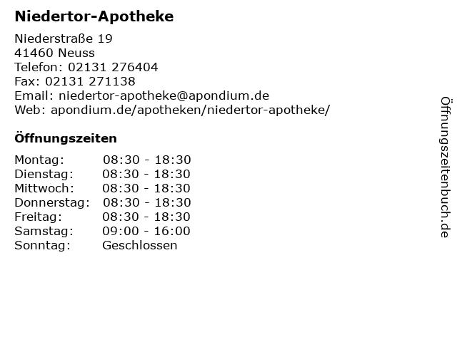 Niedertor-Apotheke in Neuss: Adresse und Öffnungszeiten