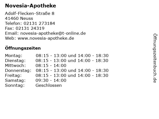 Novesia-Apotheke in Neuss: Adresse und Öffnungszeiten