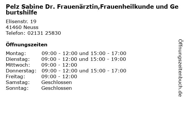 Pelz Sabine Dr. Frauenärztin,Frauenheilkunde und Geburtshilfe in Neuss: Adresse und Öffnungszeiten