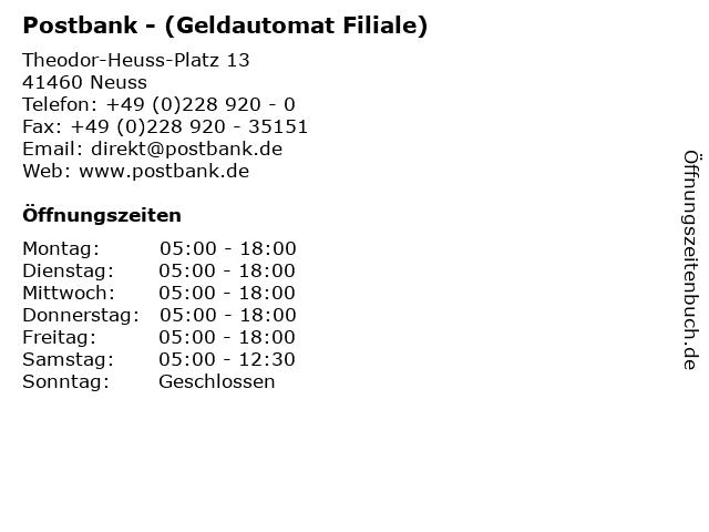 Postbank - (Geldautomat Filiale) in Neuss: Adresse und Öffnungszeiten