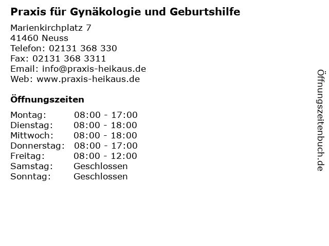 Praxis für Gynäkologie und Geburtshilfe in Neuss: Adresse und Öffnungszeiten