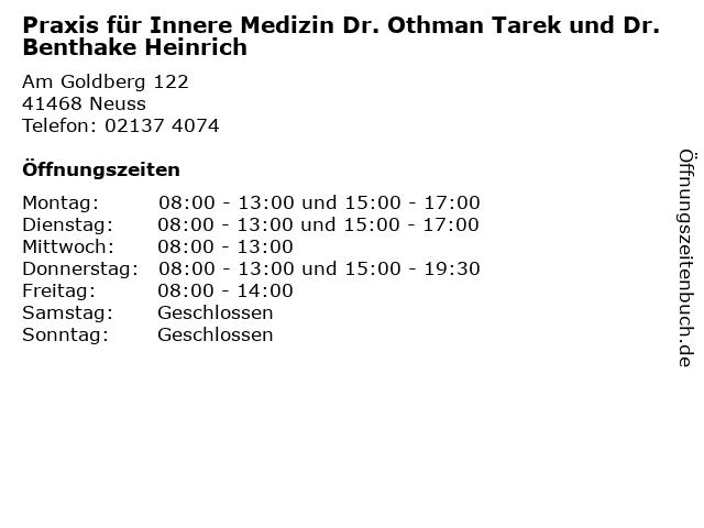 Praxis für Innere Medizin Dr. Othman Tarek und Dr. Benthake Heinrich in Neuss: Adresse und Öffnungszeiten