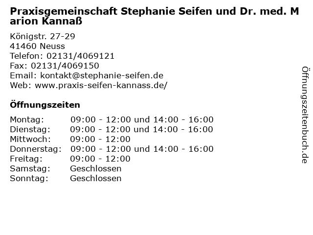 Praxisgemeinschaft Stephanie Seifen und Dr. med. Marion Kannaß in Neuss: Adresse und Öffnungszeiten