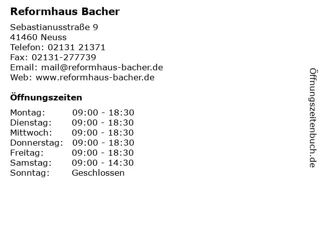 Reformhaus Bacher in Neuss: Adresse und Öffnungszeiten