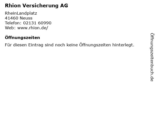 ᐅ Offnungszeiten Rhion Versicherung Ag Rheinlandplatz In Neuss
