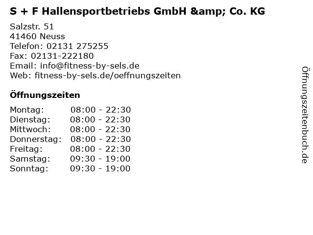 S + F Hallensportbetriebs GmbH & Co. KG in Neuss: Adresse und Öffnungszeiten