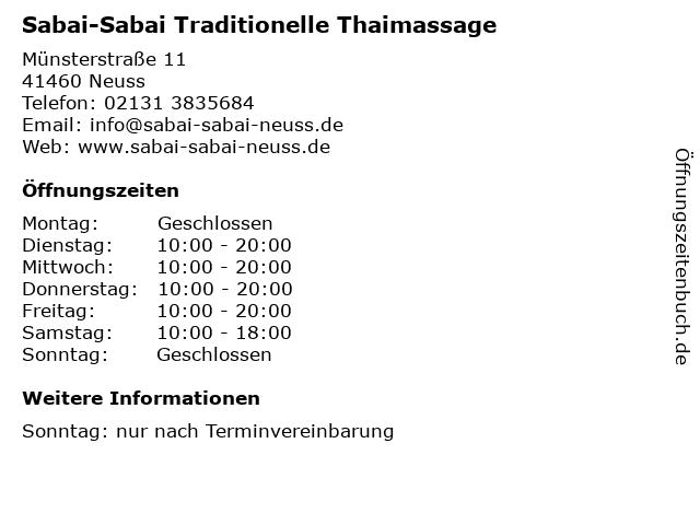 Sabai-Sabai Traditionelle Thaimassage in Neuss: Adresse und Öffnungszeiten
