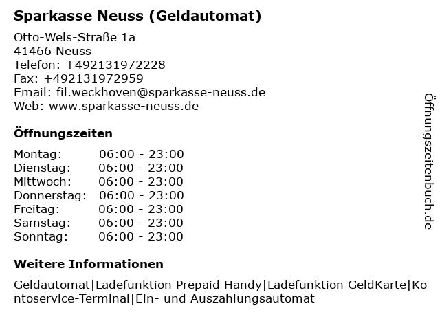 Sparkasse Neuss - (Geldautomat Filiale) in Neuss: Adresse und Öffnungszeiten