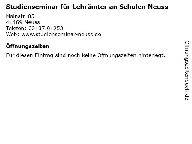Studienseminar für Lehrämter an Schulen Neuss in Neuss: Adresse und Öffnungszeiten