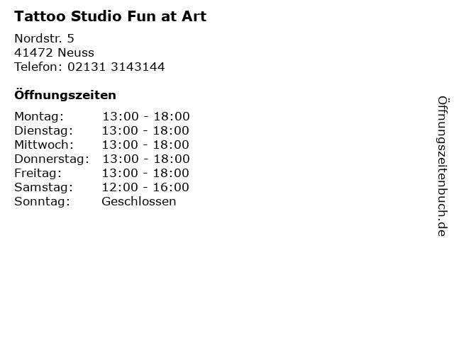 Tattoo Studio Fun at Art in Neuss: Adresse und Öffnungszeiten