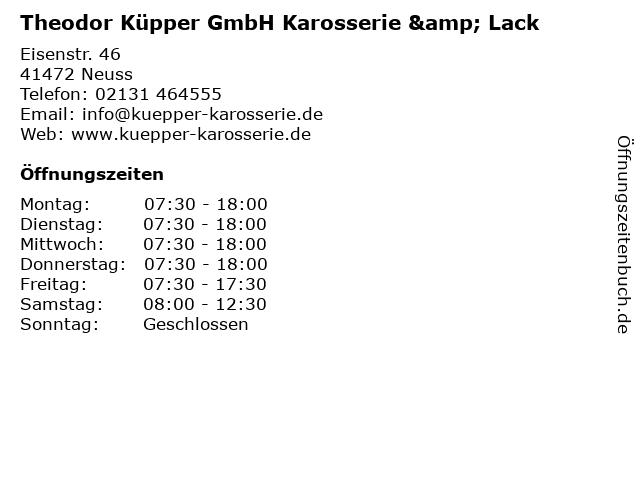 Theodor Küpper GmbH Karosserie & Lack in Neuss: Adresse und Öffnungszeiten