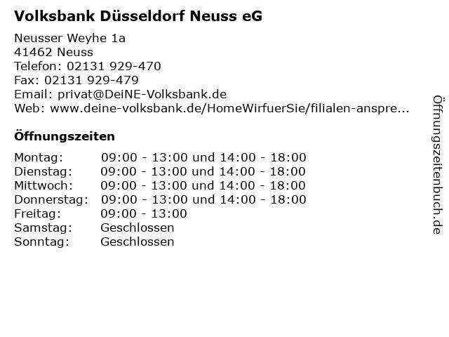 Volksbank Düsseldorf Neuss eG in Neuss: Adresse und Öffnungszeiten