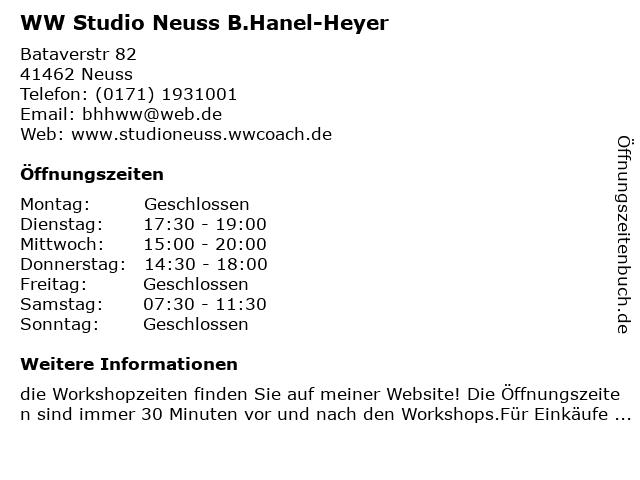 WW Studio Neuss B.Hanel-Heyer in Neuss: Adresse und Öffnungszeiten