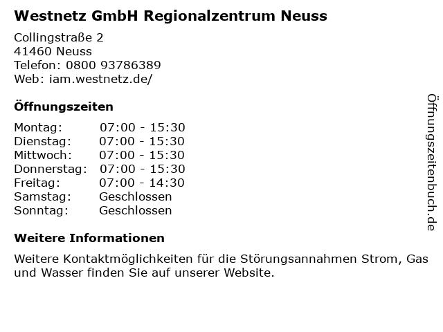 Westnetz GmbH Regionalzentrum Neuss in Neuss: Adresse und Öffnungszeiten