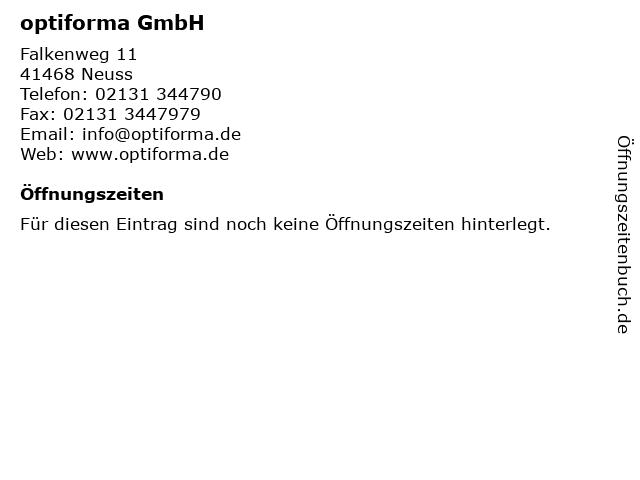 ᐅ Offnungszeiten Optiforma Gmbh Falkenweg 11 In Neuss