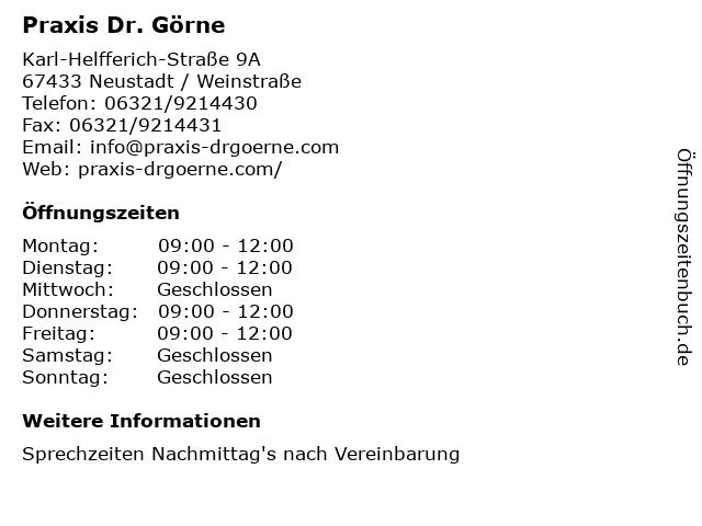 Praxis Dr. Görne in Neustadt / Weinstraße: Adresse und Öffnungszeiten