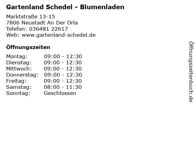Gartenland Schedel - Blumenladen in Neustadt An Der Orla: Adresse und Öffnungszeiten