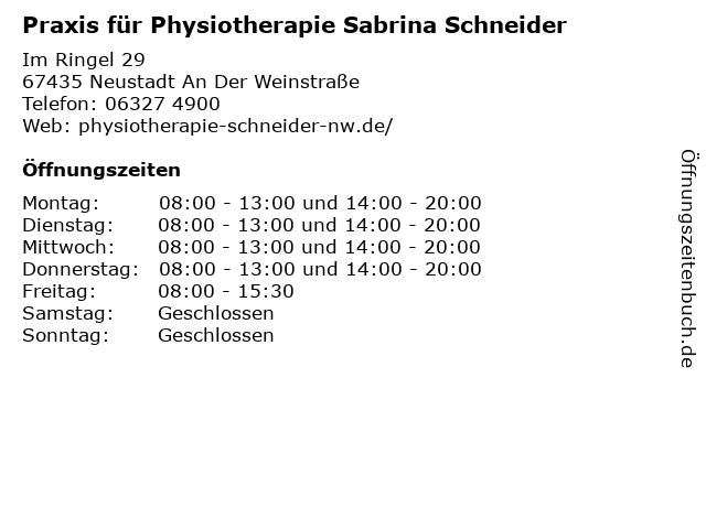 Praxis für Physiotherapie Sabrina Schneider in Neustadt An Der Weinstraße: Adresse und Öffnungszeiten