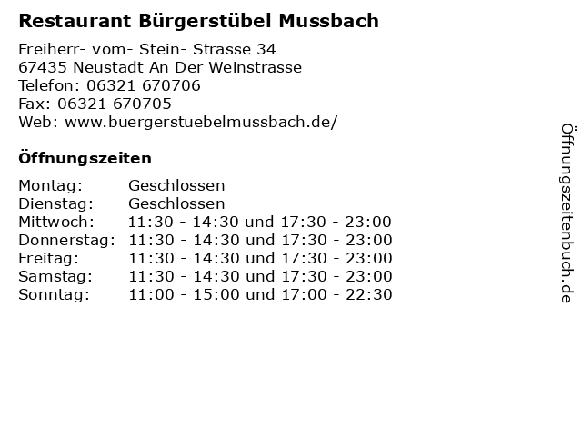 Restaurant Bürgerstübel Mussbach in Neustadt An Der Weinstrasse: Adresse und Öffnungszeiten