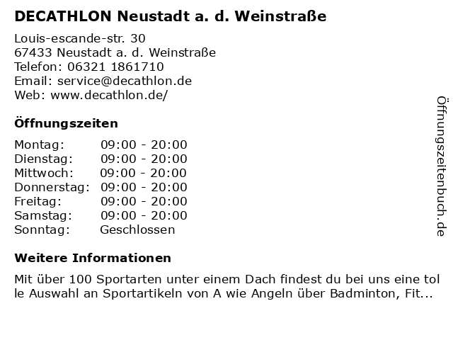 DECATHLON Neustadt a. d. Weinstraße in Neustadt a. d. Weinstraße: Adresse und Öffnungszeiten