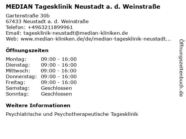 MEDIAN Tagesklinik Neustadt a. d. Weinstraße in Neustadt a. d. Weinstraße: Adresse und Öffnungszeiten