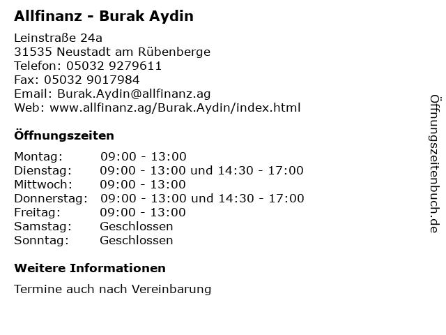 Allfinanz - Burak Aydin in Neustadt am Rübenberge: Adresse und Öffnungszeiten