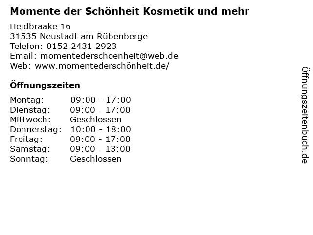 Momente der Schönheit Kosmetik und mehr in Neustadt am Rübenberge: Adresse und Öffnungszeiten