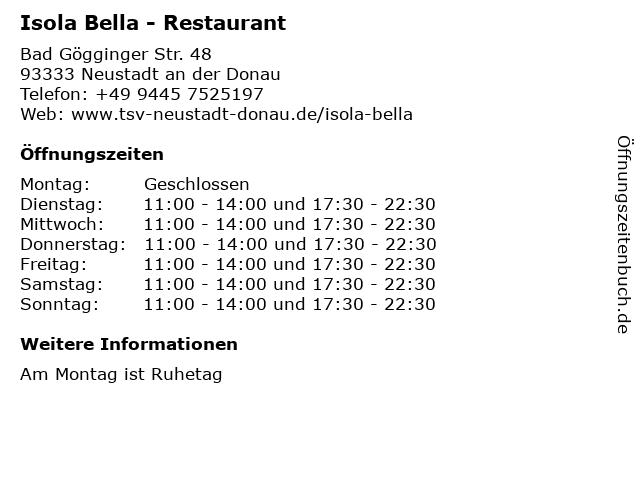 Isola Bella - Restaurant in Neustadt an der Donau: Adresse und Öffnungszeiten
