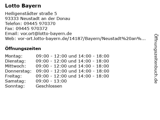 Lotto Bayern in Neustadt an der Donau: Adresse und Öffnungszeiten