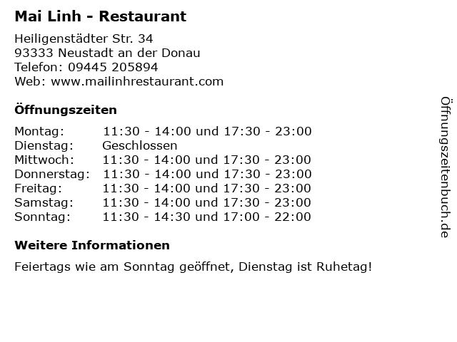 Mai Linh - Restaurant in Neustadt an der Donau: Adresse und Öffnungszeiten