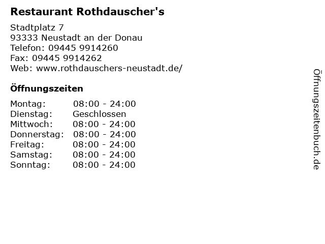 Restaurant Phoenix Rothdauscher / Meyer GbR in Neustadt an der Donau: Adresse und Öffnungszeiten