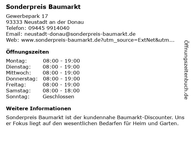 Sonderpreis Baumarkt in Neustadt an der Donau: Adresse und Öffnungszeiten