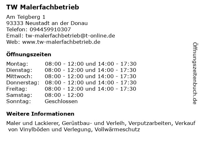 TW Malerfachbetrieb in Neustadt an der Donau: Adresse und Öffnungszeiten