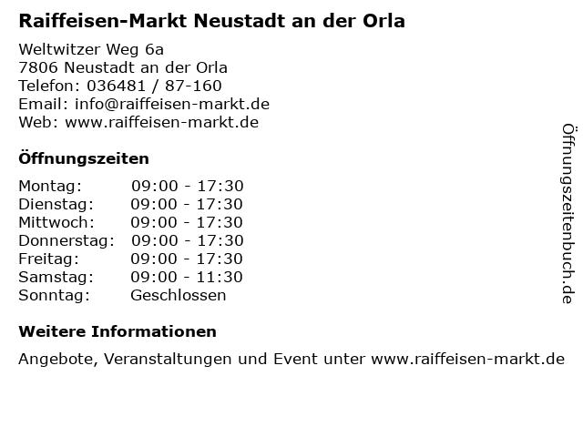 Raiffeisen-Markt Neustadt an der Orla in Neustadt an der Orla: Adresse und Öffnungszeiten