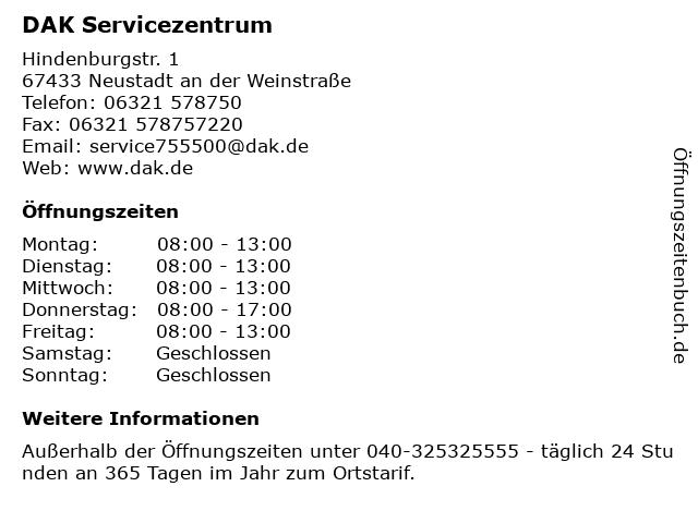 DAK Servicezentrum in Neustadt an der Weinstraße: Adresse und Öffnungszeiten