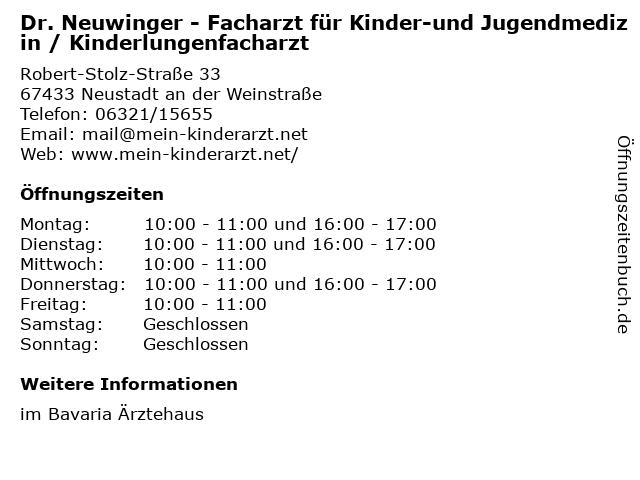 Dr. Neuwinger - Facharzt für Kinder-und Jugendmedizin / Kinderlungenfacharzt in Neustadt an der Weinstraße: Adresse und Öffnungszeiten