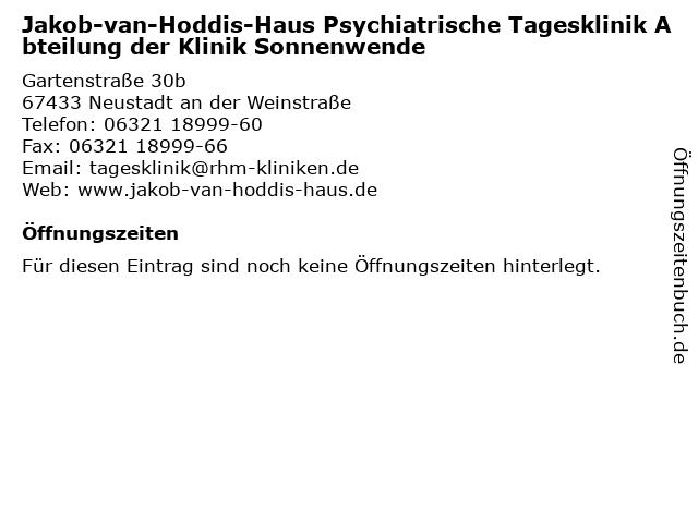 Jakob-van-Hoddis-Haus Psychiatrische Tagesklinik Abteilung der Klinik Sonnenwende in Neustadt an der Weinstraße: Adresse und Öffnungszeiten