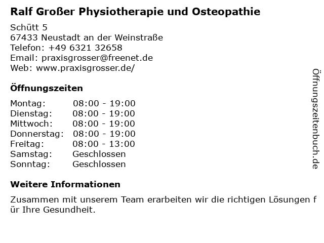 Ralf Großer Physiotherapie und Osteopathie in Neustadt an der Weinstraße: Adresse und Öffnungszeiten