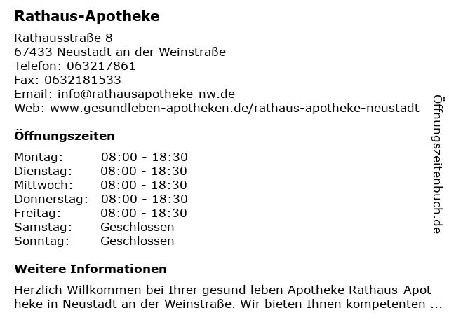 Rathaus-Apotheke in Neustadt an der Weinstraße: Adresse und Öffnungszeiten