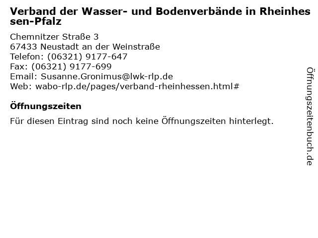 Verband der Wasser- und Bodenverbände in Rheinhessen-Pfalz in Neustadt an der Weinstraße: Adresse und Öffnungszeiten