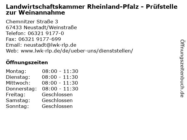 Landwirtschaftskammer Rheinland-Pfalz - Prüfstelle zur Weinannahme in Neustadt/Weinstraße: Adresse und Öffnungszeiten
