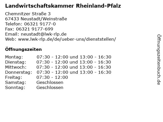 Landwirtschaftskammer Rheinland-Pfalz in Neustadt/Weinstraße: Adresse und Öffnungszeiten