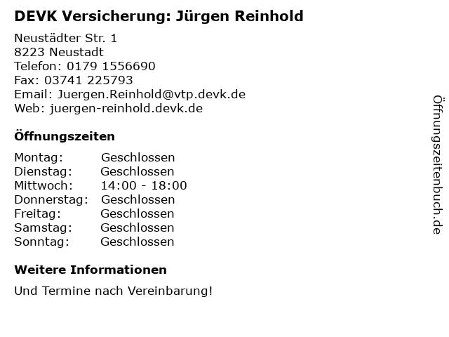 DEVK Versicherung: Jürgen Reinhold in Neustadt: Adresse und Öffnungszeiten