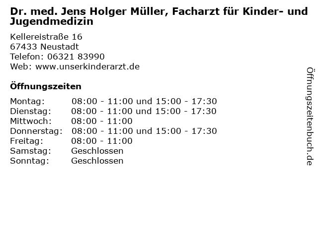 Dr. med. Jens Holger Müller, Facharzt für Kinder- und Jugendmedizin in Neustadt: Adresse und Öffnungszeiten