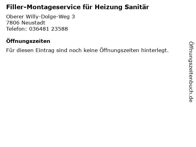 Filler-Montageservice für Heizung Sanitär in Neustadt: Adresse und Öffnungszeiten
